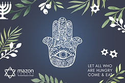 Image of MAZON all purpose printed card with Hamsa and leaves