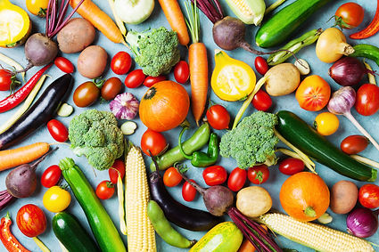 Colourful vegetables and fruits