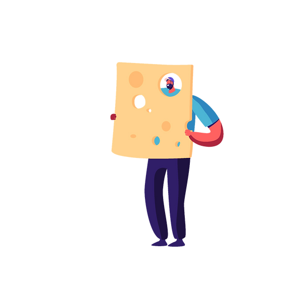 Illustration of person in a blue shirt holding a larger than life piece of cheese