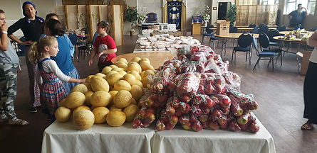 Table covered in melons and apples