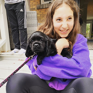 Image of young girl in a purple sweater holding a black puppy
