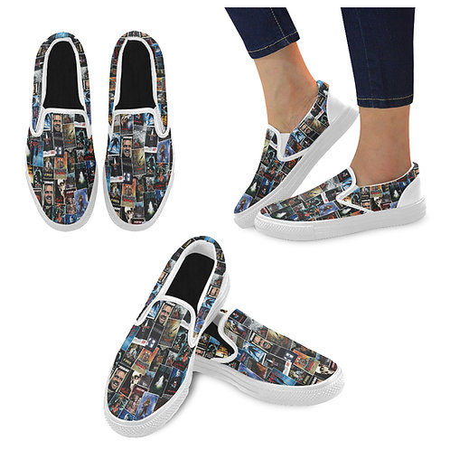 80's Horror Canvas Slip On Shoes