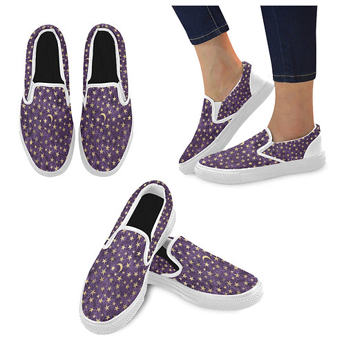 Purple Celestial Canvas Slip On Shoes