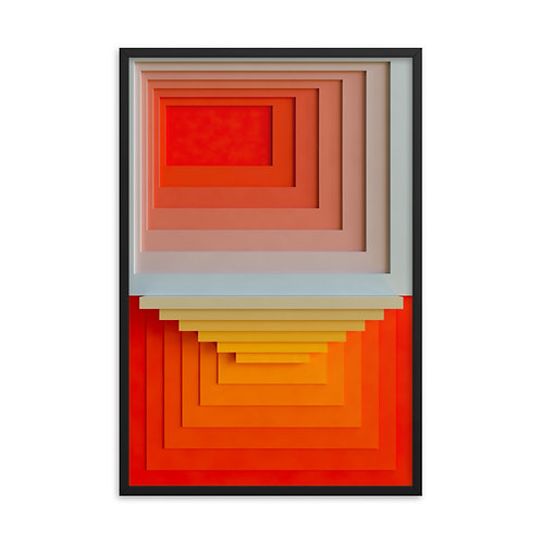 "Josef's squares fig. 03 - 24""-36"" Framed"