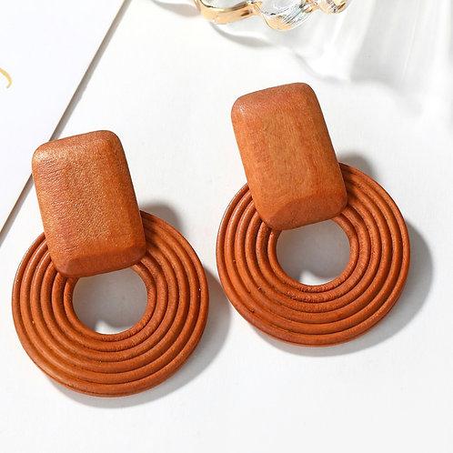 OLIVIA Square Wooden Round Drop (Burnt Orange)
