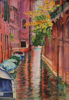 """""""Venice Canal 1"""", 18x24"""" Watercolor on paper."""