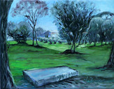 """St. Rhemy Bench in the Grove"""" Oil on Canvas board"""