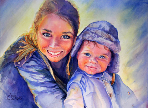 """""""Katie & Carter"""" Private Collection 28x22.5"""" Watercolor on paper."""