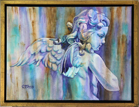 """""""Antique Angel"""" 18x24"""" Watercolor on paper."""