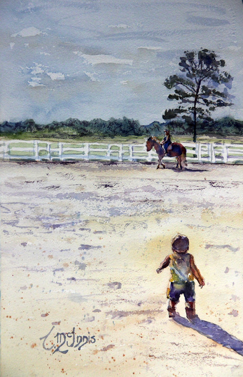"""""""I wanna Ride"""" Sold. This painting measures 11x17.5"""" Watercolor on paper."""