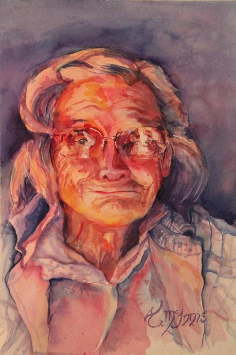 """Ms. Vera""  18x24"" Watercolor on paper."