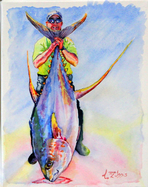 """""""Jim & the Yellow Fin"""" SOLD, 22x30"""" Watercolor on paper."""