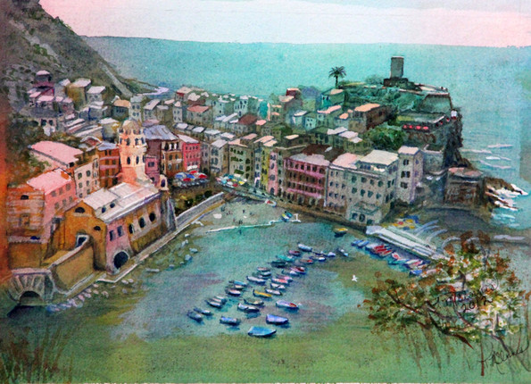 """""""Santa Margherita d' Antiochia 1318"""" Personal Collection 15.5x12.5"""" Watercolor on paper."""
