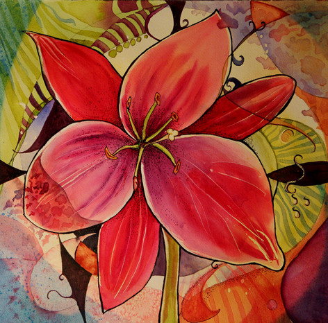 """""""Abstract Amaryllis"""" , 21x21"""" Watercolor on paper."""