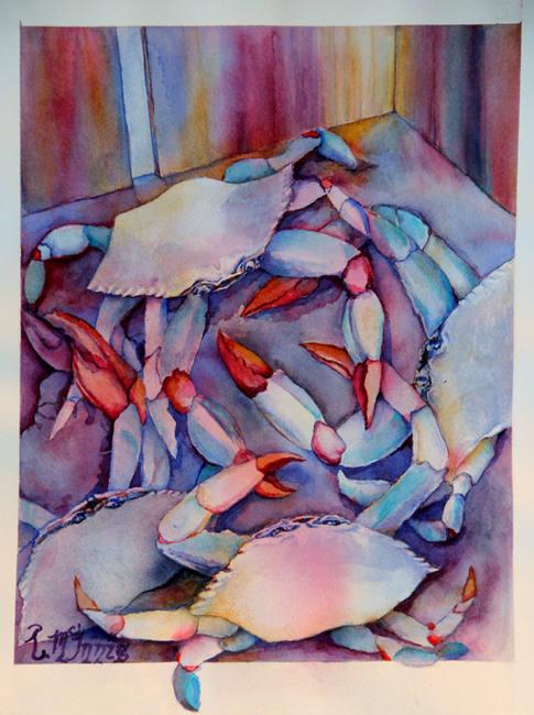 """Nick's Crab Dance"" , 18x22"" Watercolor on paper."