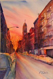 """""""Sunset on 200 E 3rd""""  20 X 27"""" Watercolor on paper."""