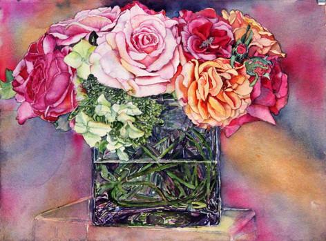 """Multi Rose"" , 15x19"" Watercolor on paper."