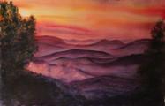 """Hiawassee Glow"", 39x23"" Watercolor on paper."