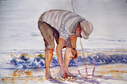 """The Lone Raker""13.25x16.75"" Watercolor on paper."