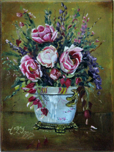 French Floral 9x12 Oil on Canvas board