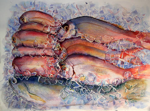 """""""Cool Fish"""" , 35.5x28"""" Watercolor on paper which is mounted onto a wooden cradle embelished by boat cleats."""