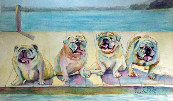"""Dock Bullies"" Private Collection  Watercolor on paper."