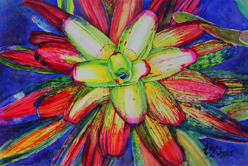 """""""Yellow Bromeliad"""" 20x27"""" Watercolor on paper."""