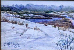 Foggy Morris Lake Watercolor 5x7