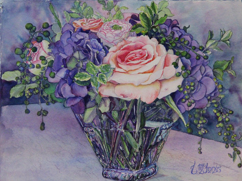 """""""Rose and Hydrangea"""" 15x19"""" Watercolor on paper."""
