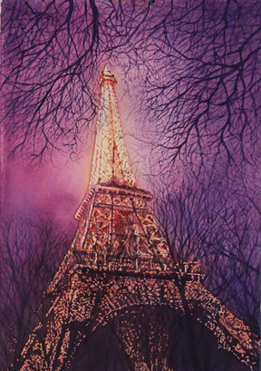 """""""Eiffel Evening"""" , 20x27"""" Watercolor on paper."""