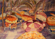 """""""South Beach Cabannas"""" , 6x20"""" Watercolor on paper."""
