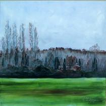 Leaving San Gimignano 24x24 Oil on canvas