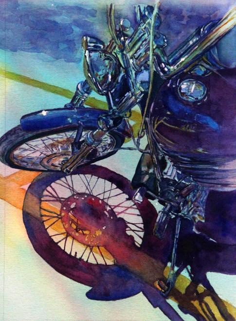 """Kickstand Blues"" , 15.5x19.5"" Watercolor on paper."