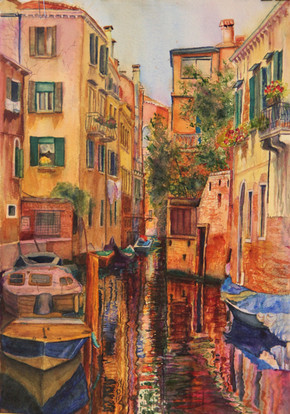 """""""Venice Canal 2"""" 18x24"""" Watercolor on paper."""