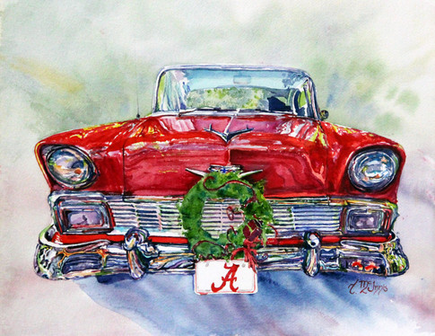 """""""Red 56 for Christmas"""" , 18x24 inches and is mounted on a canvas."""