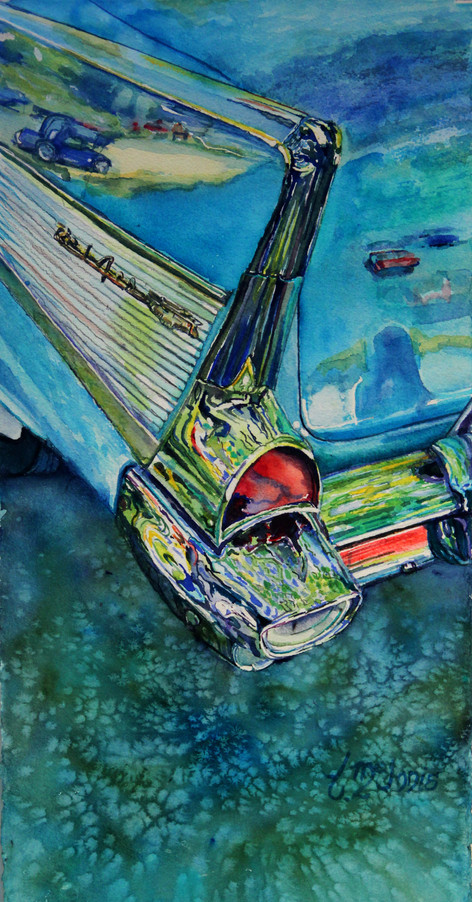 """""""57 Chevy Belair"""", 18.75x28"""" Watercolor on paper."""
