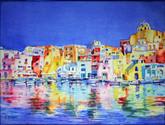 """""""Amalfi Coast"""" Private collection, Watercolor canvas."""