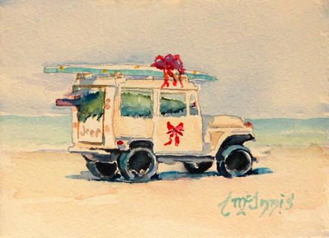 """Christmas Beach Cruiser"" 7.5x10.5 Watercolor on paper."
