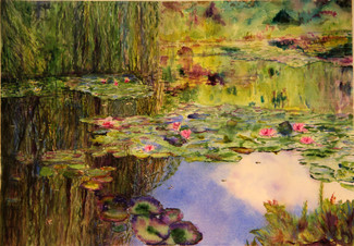 """""""Monet Lily Pond""""  Private Collection 18x24"""" Watercolor on paper."""