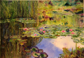 """Monet Lily Pond""  Private Collection 18x24"" Watercolor on paper."
