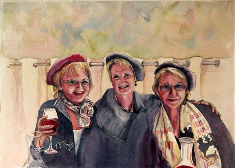 """""""Three French Ladies"""" 11x15 Watercolor"""