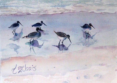 """""""Reflective Pipers""""  This painting measures 14x16"""" Watercolor on paper."""