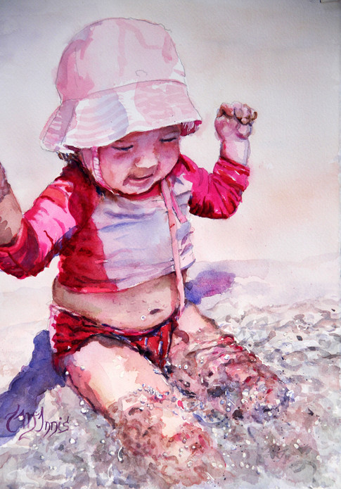 """""""First Splash"""", 20x17"""" Watercolor on paper."""