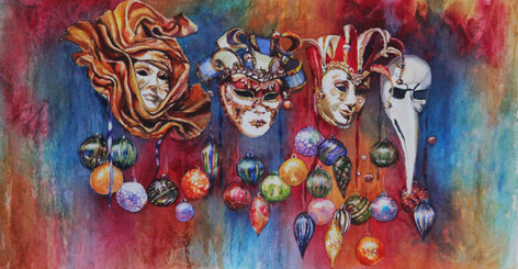 """""""Masked Veneza"""" Private Collection 12x16"""" Watercolor on paper."""