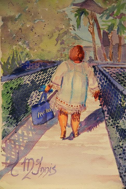 """Tess on the Boardwalk"" 14x16"" Watercolor on paper."