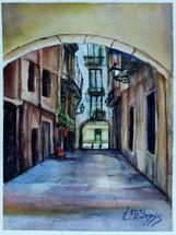 El Born Alley Watercolor 8x10