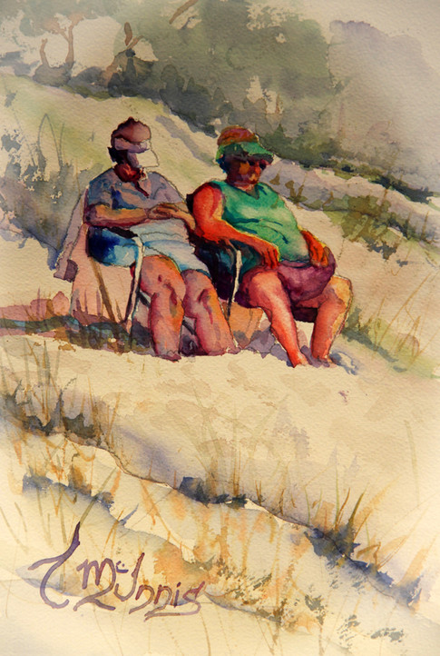 """""""Lounge Ladies"""", 14x16 inches Watercolor on paper."""