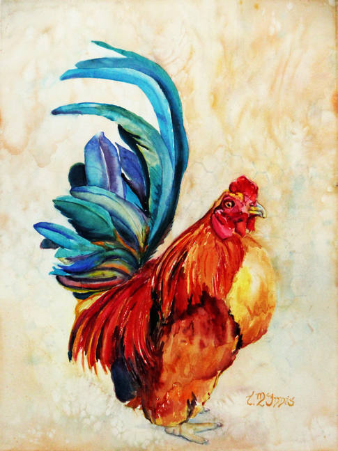 """""""Rooster Red""""  18x24"""" Watercolor on artist made WC paper canvas."""