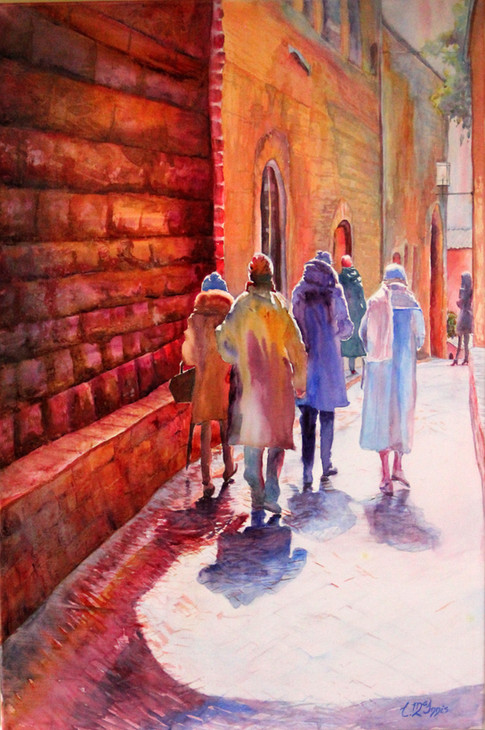 "Santa Fina Feast Patrons San Gimignano Watercolor 24x36"""