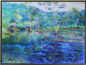 """""""Mill Creek Pond"""", 32x42"""" Watercolor paper stretched to artist made canvas."""